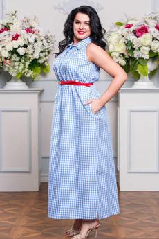 Длинное летнее платье из хлопка с карманами Angela Ricci со скидкой