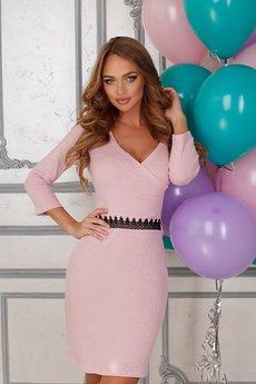 Розовое платье с v-образным вырезом Open-Style
