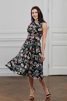 Черное платье с цветочным принтом Look Russian