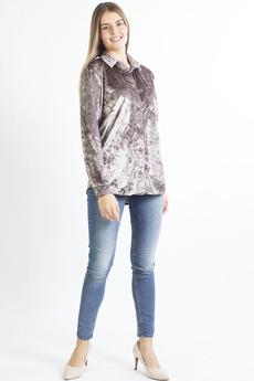 Светло-коричневая бархатная рубашка Bast