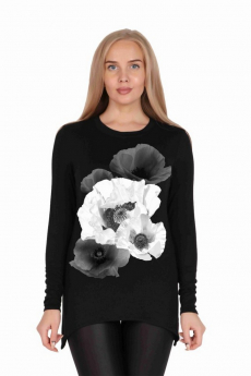 Черная туника с цветком Милана